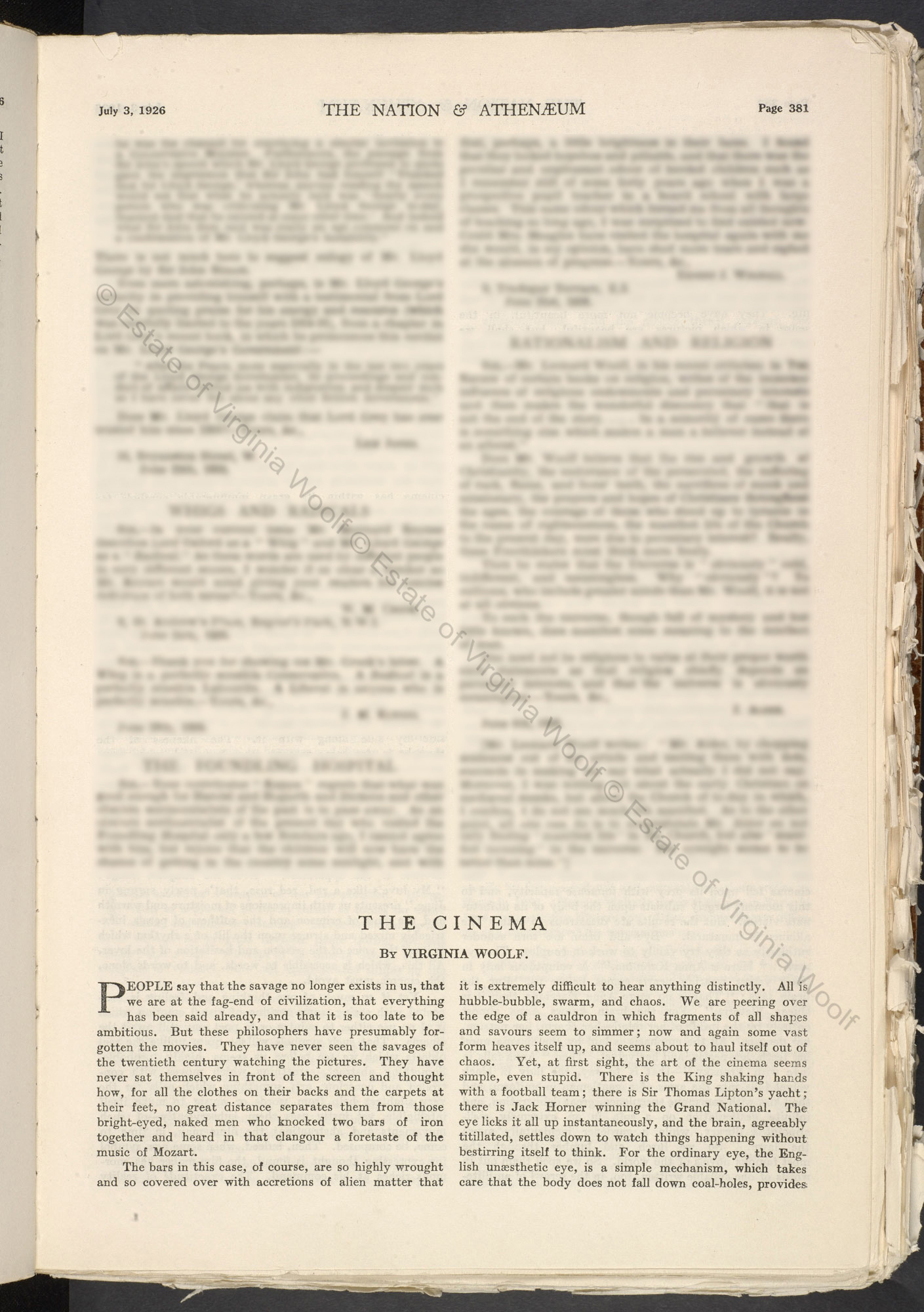 'The Cinema' by Virginia Woolf, from The Nation and Athanaeum
