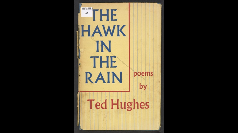 Yellow front cover from 'The Hawk in the Rain: poems by Ted Hughes', Faber edition