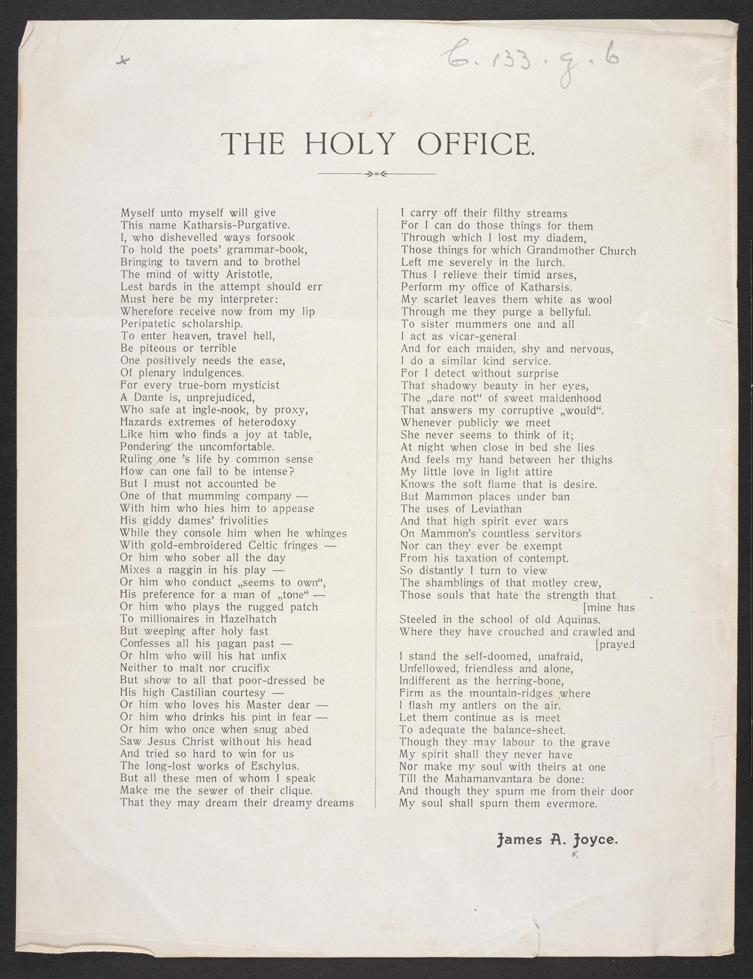 'The Holy Office', a poem by James Joyce