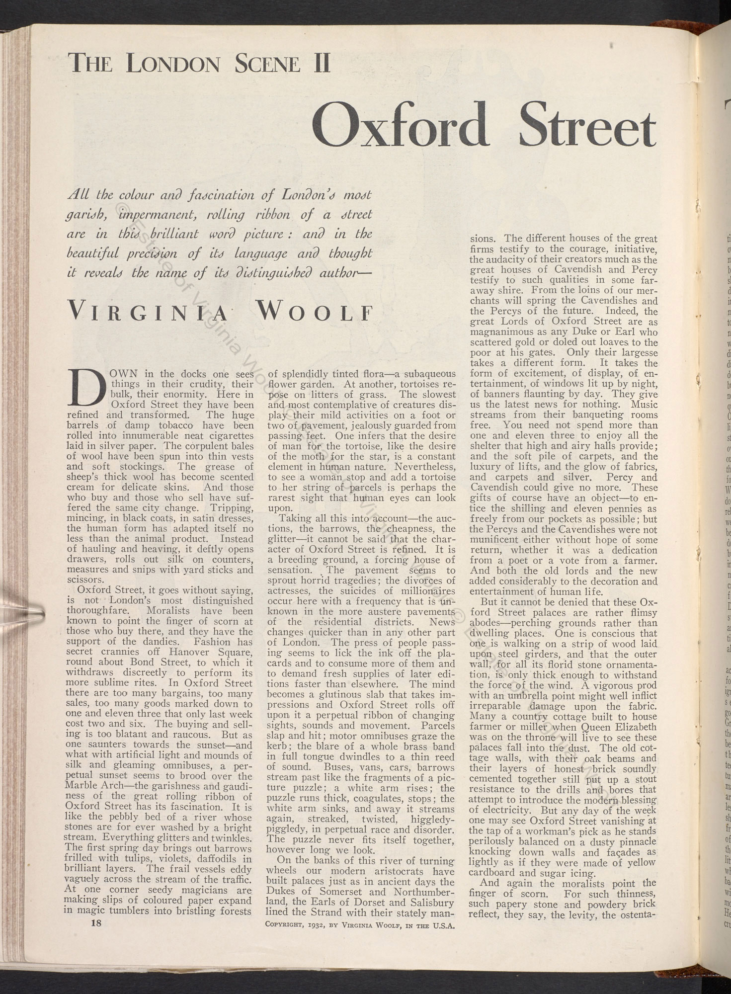 The London Scene essays by Virginia Woolf, from Good Housekeeping magazine