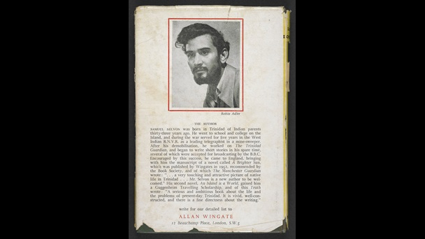 Back of the dust jacket for the first edition of The Lonely Londoners by Samuel Selvon, featuring a photograph of Selvon and a biography