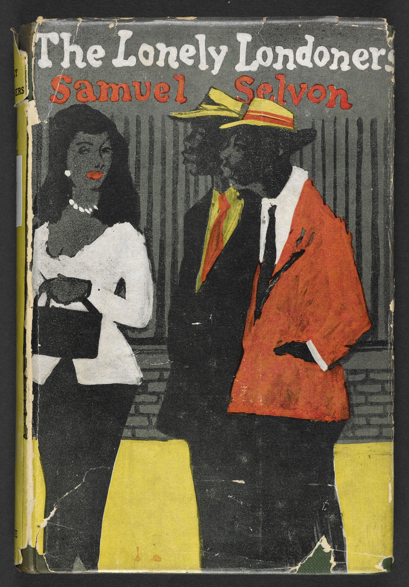 Dust jacket to the first edition of The Lonely Londoners by Samuel Selvon, showing a print of a woman dressed formally and two suited men walking down a street