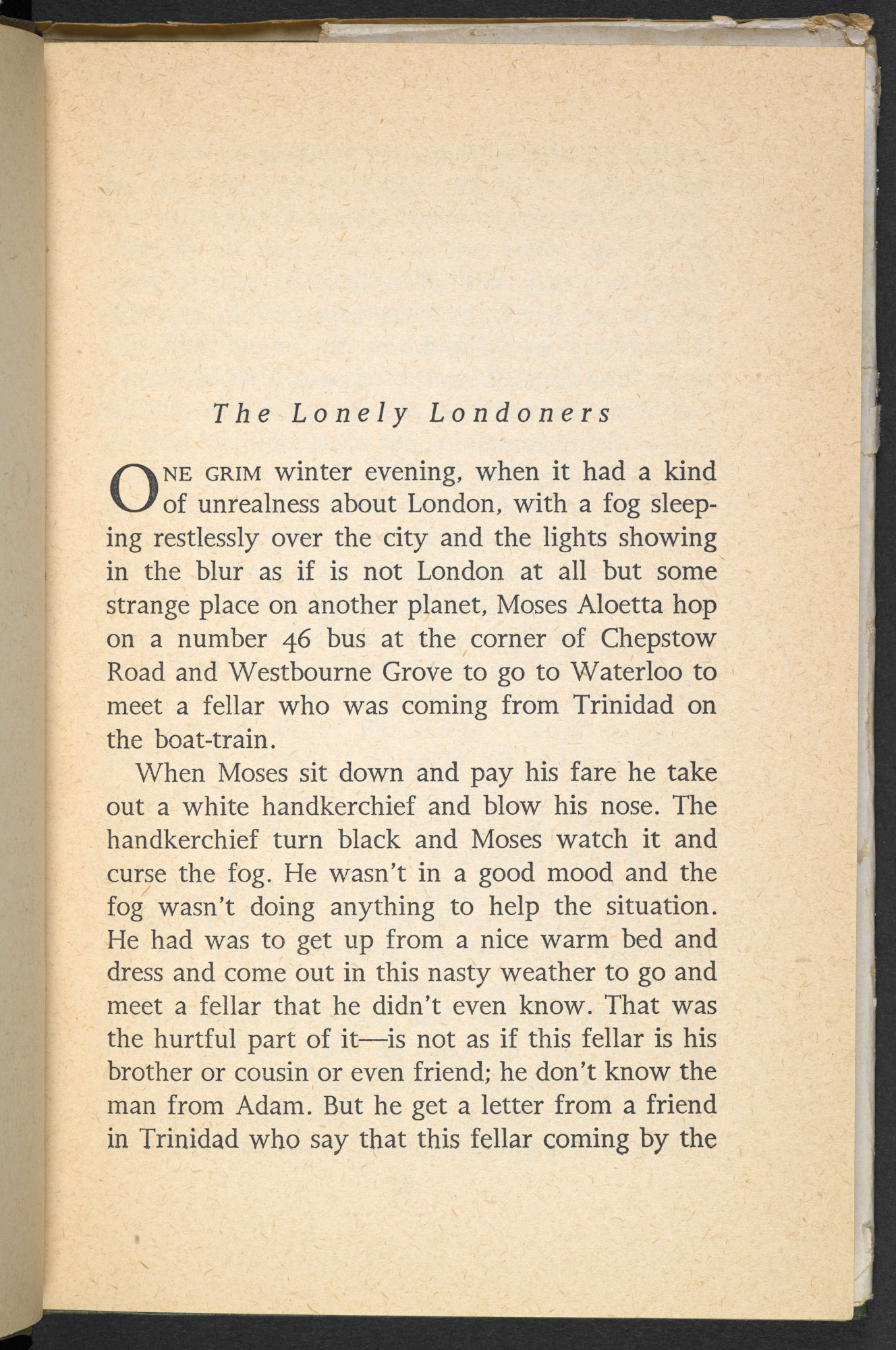 Page 8, opening scene from the first edition of The Lonely Londoners by Samuel Selvon