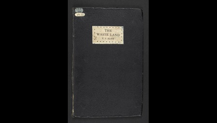 Navy blue front cover containing the text The Waste Land, T S Eliot