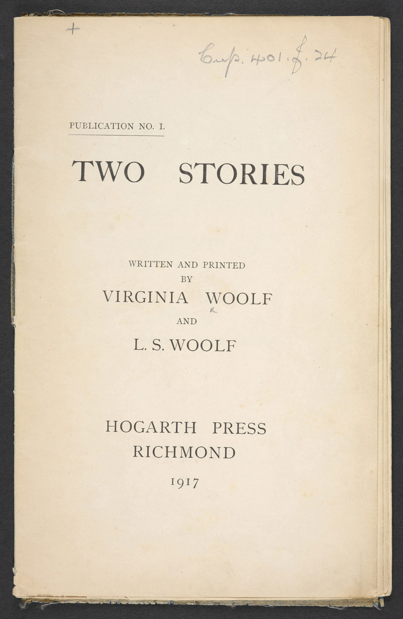 Two Stories, written and printed by Virginia and Leonard Woolf