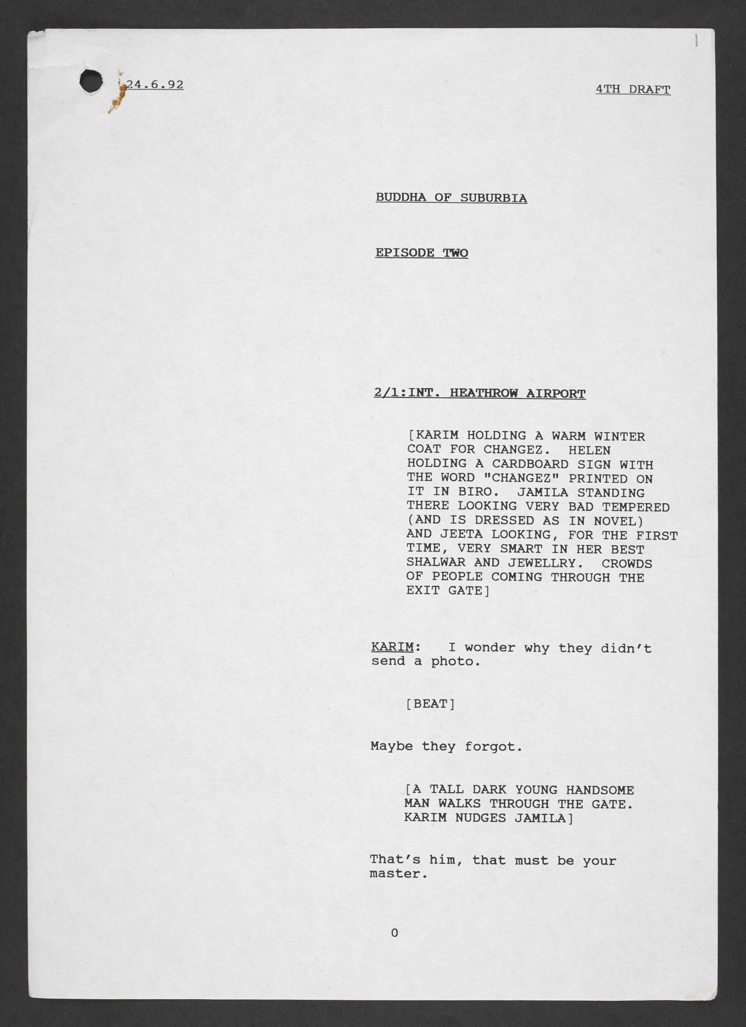 Typescript draft for episode two of 'The Buddha of Suburbia' TV series