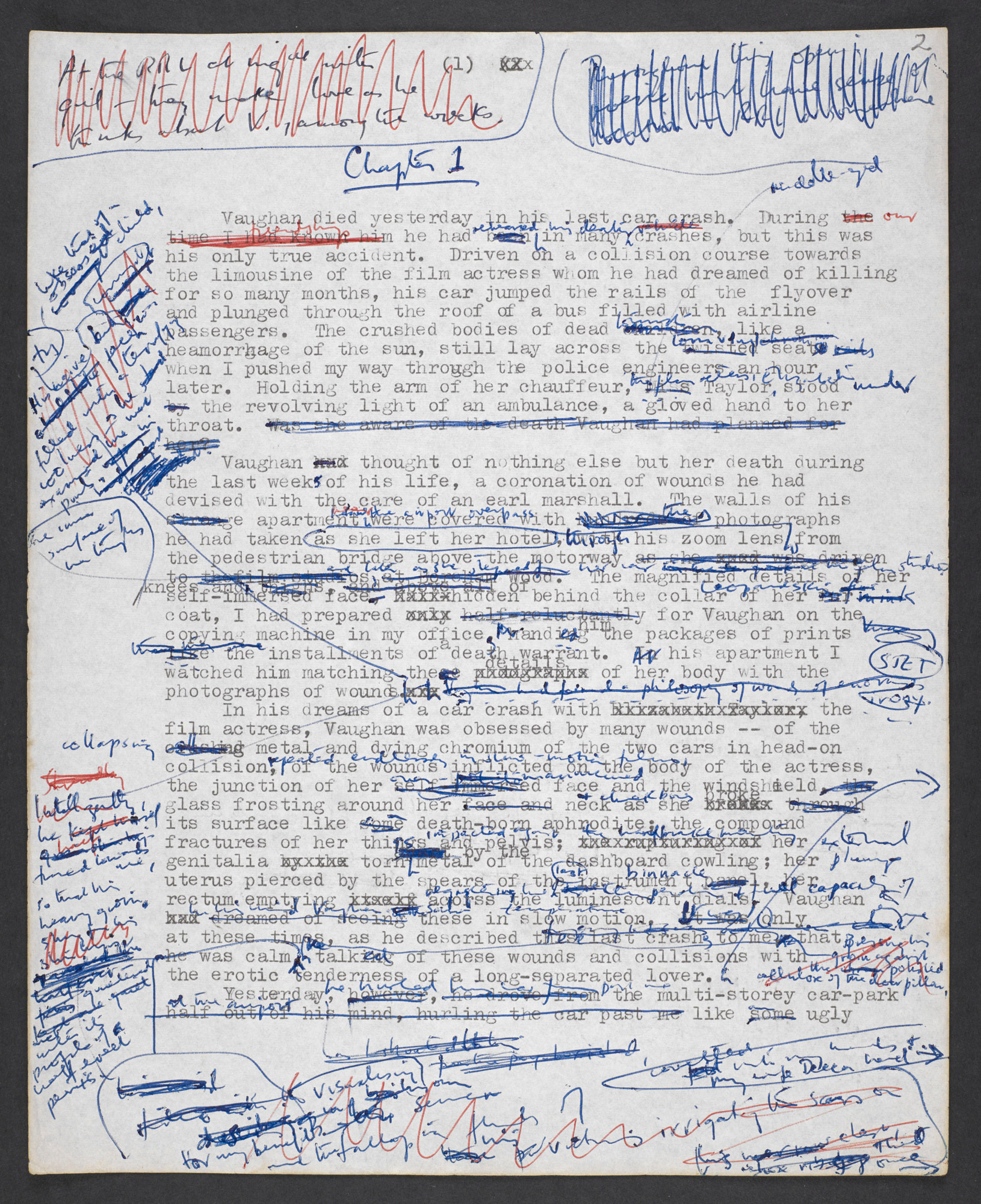 Typescript draft of Crash by J G Ballard, revised by hand