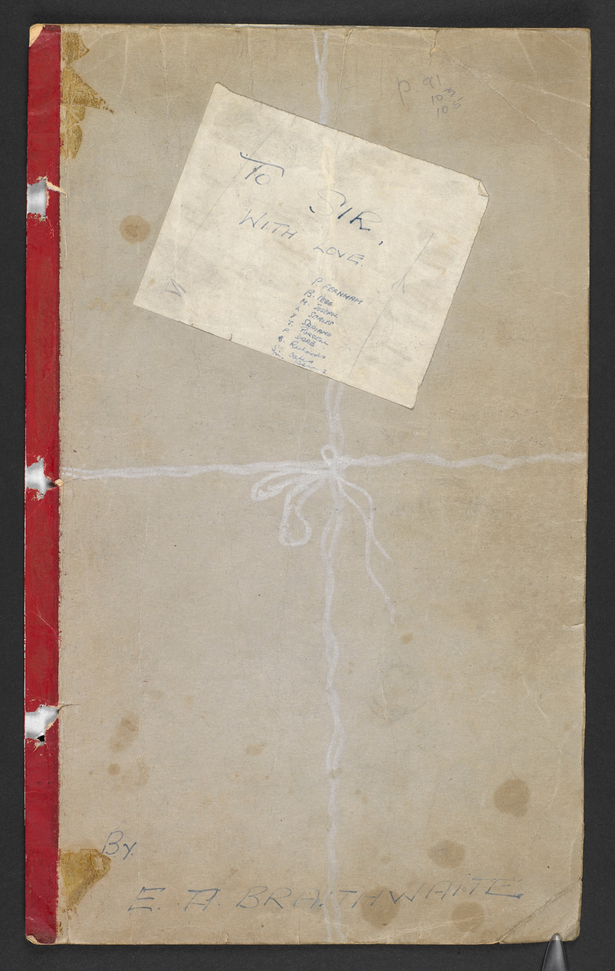Cardboard front cover, featuring the title, author's name and white pencil drawn like a ribbon tied around a present, from a typescript draft of E R Braithwaite's To Sir, With Love