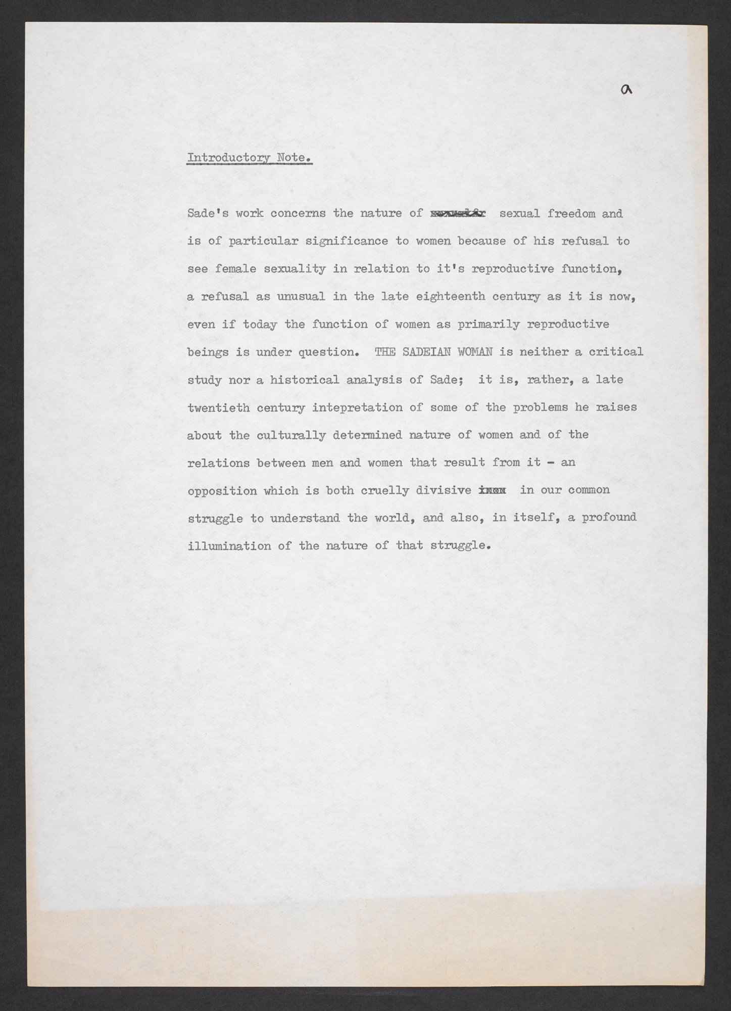 Typescript draft of The Sadeian Woman by Angela Carter