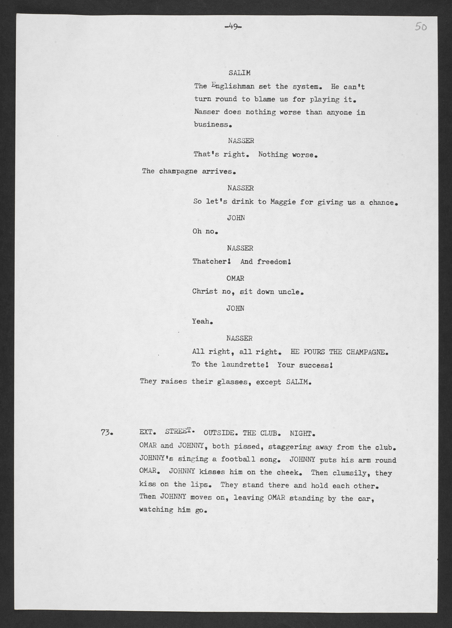 Typescript first draft of 'My Beautiful Laundrette'