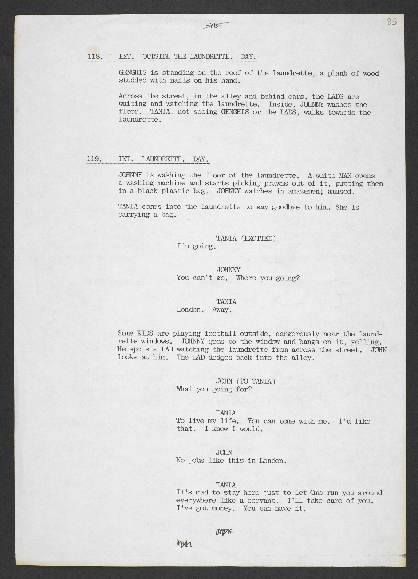 Typescript late draft of 'My Beautiful Laundrette' by Hanif Kureishi