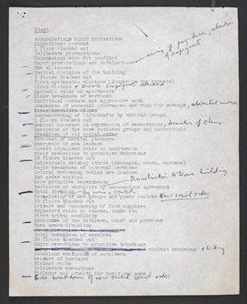 Page containing typescript 'summary notes' for High Rise, with annotations in J G Ballard's hand