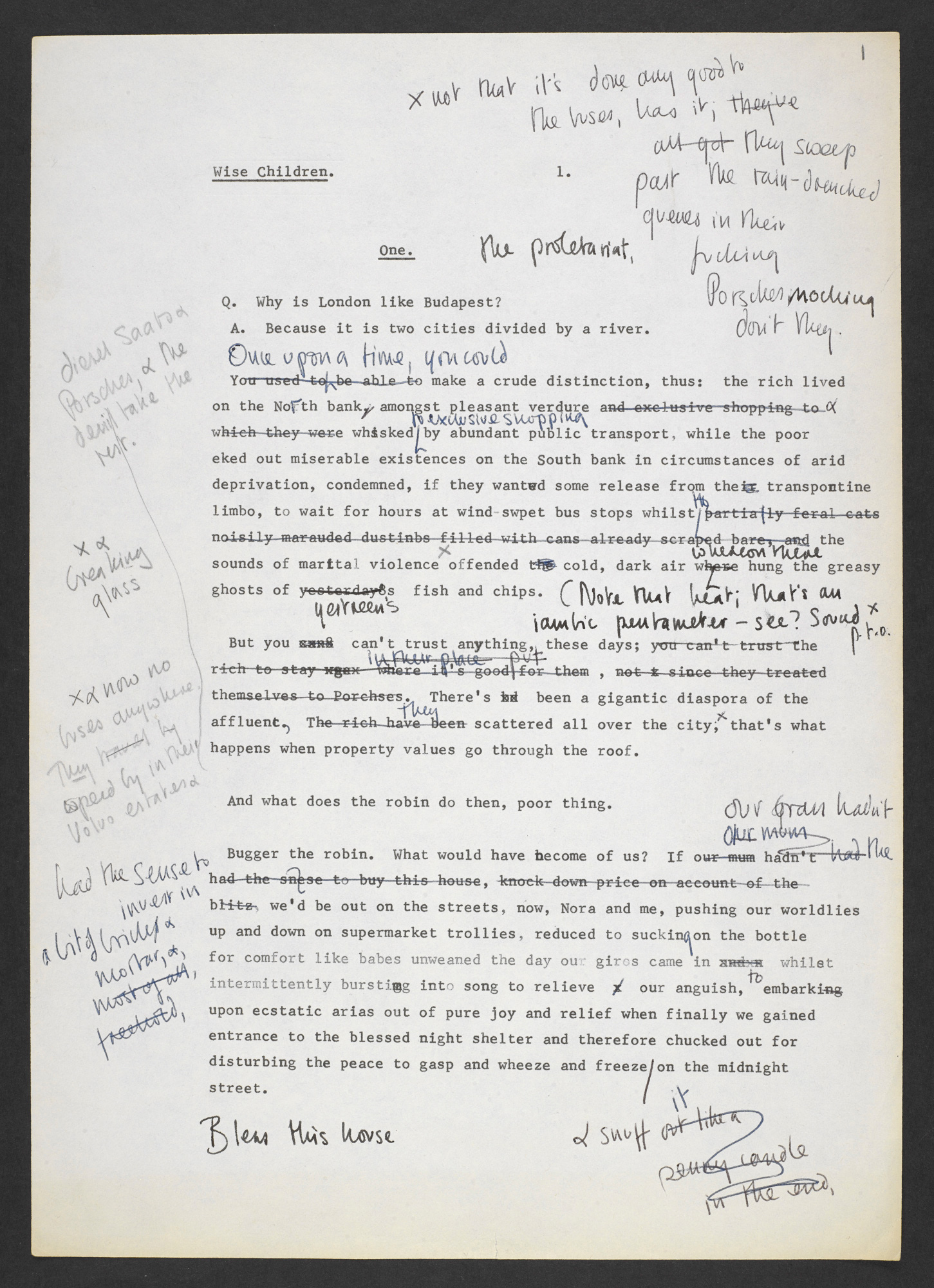 Typewritten and annotated drafts of Wise Children by Angela Carter, Chapter One