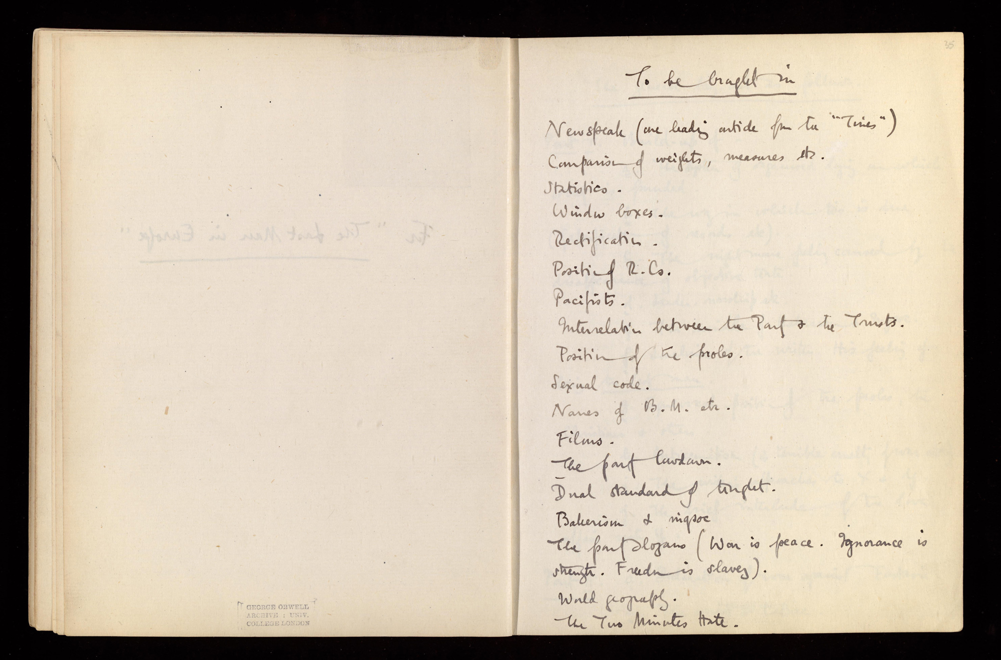 George Orwell's Literary notebook 1939/40-1946/47, with notes for Nineteen Eighty-Four