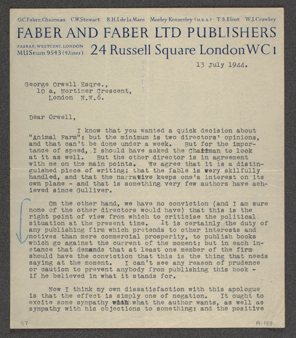 Letter from T S Eliot (Faber) to George Orwell rejecting Animal Farm, 13 July 1944