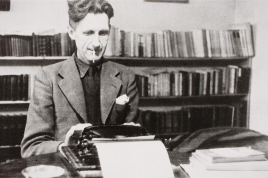 Photograph of Orwell at work by Vernon Richards