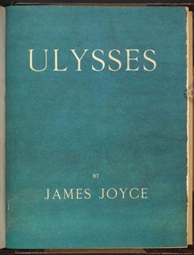 Blue front cover from 'Ulysses' by James Joyce, published by Shakespeare and Company