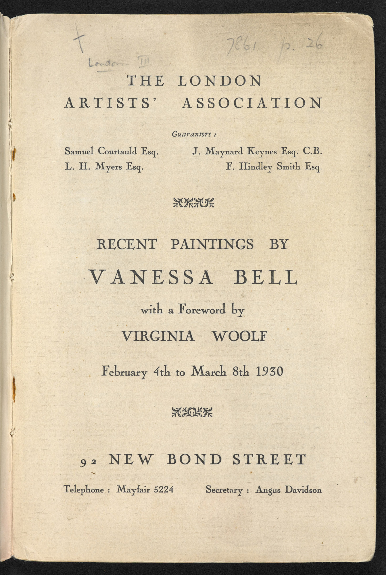 Vanessa Bell exhibition catalogue with an essay by Virginia Woolf