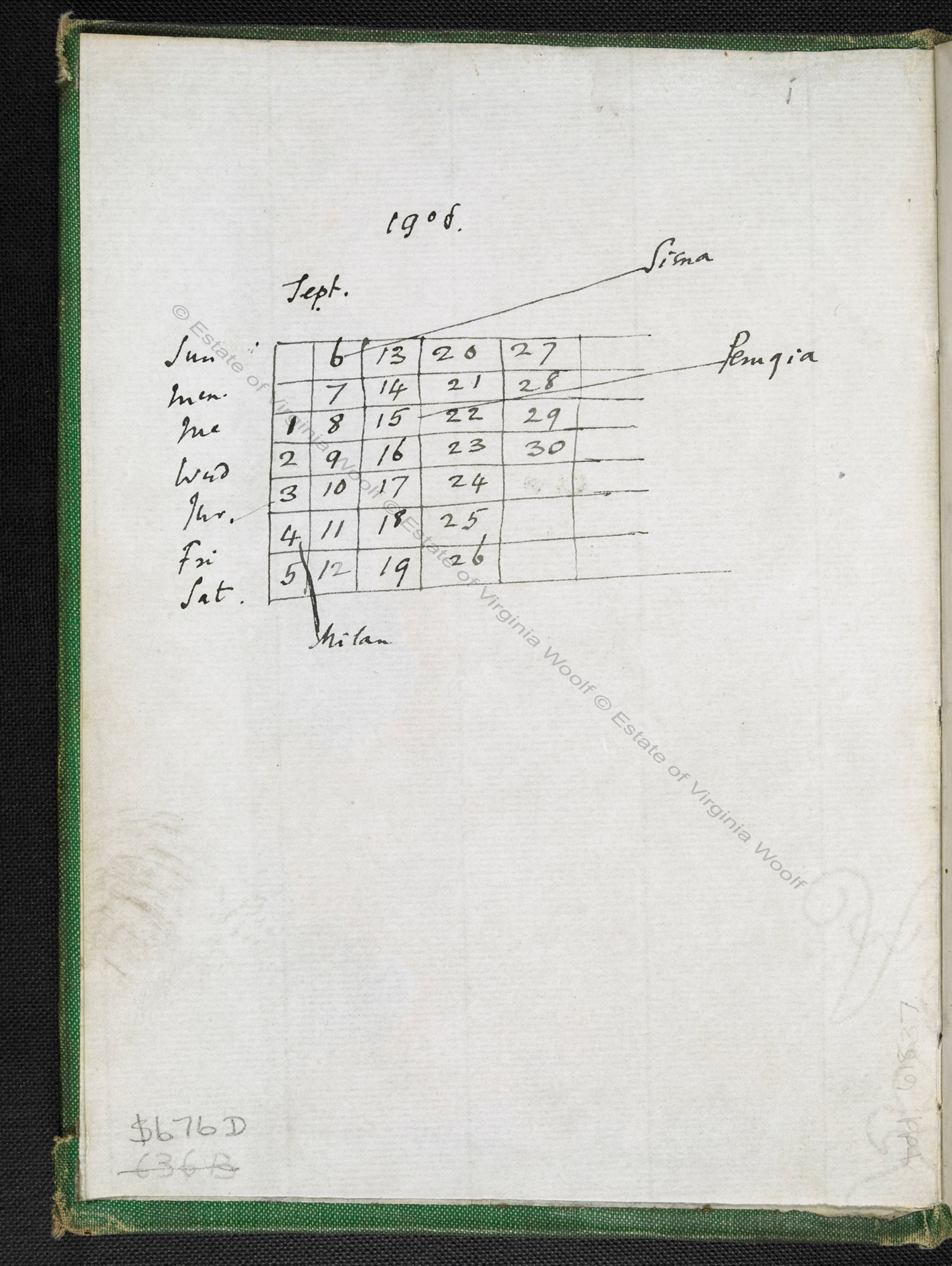 Virginia Woolf's travel and literary notebook, 1906-09