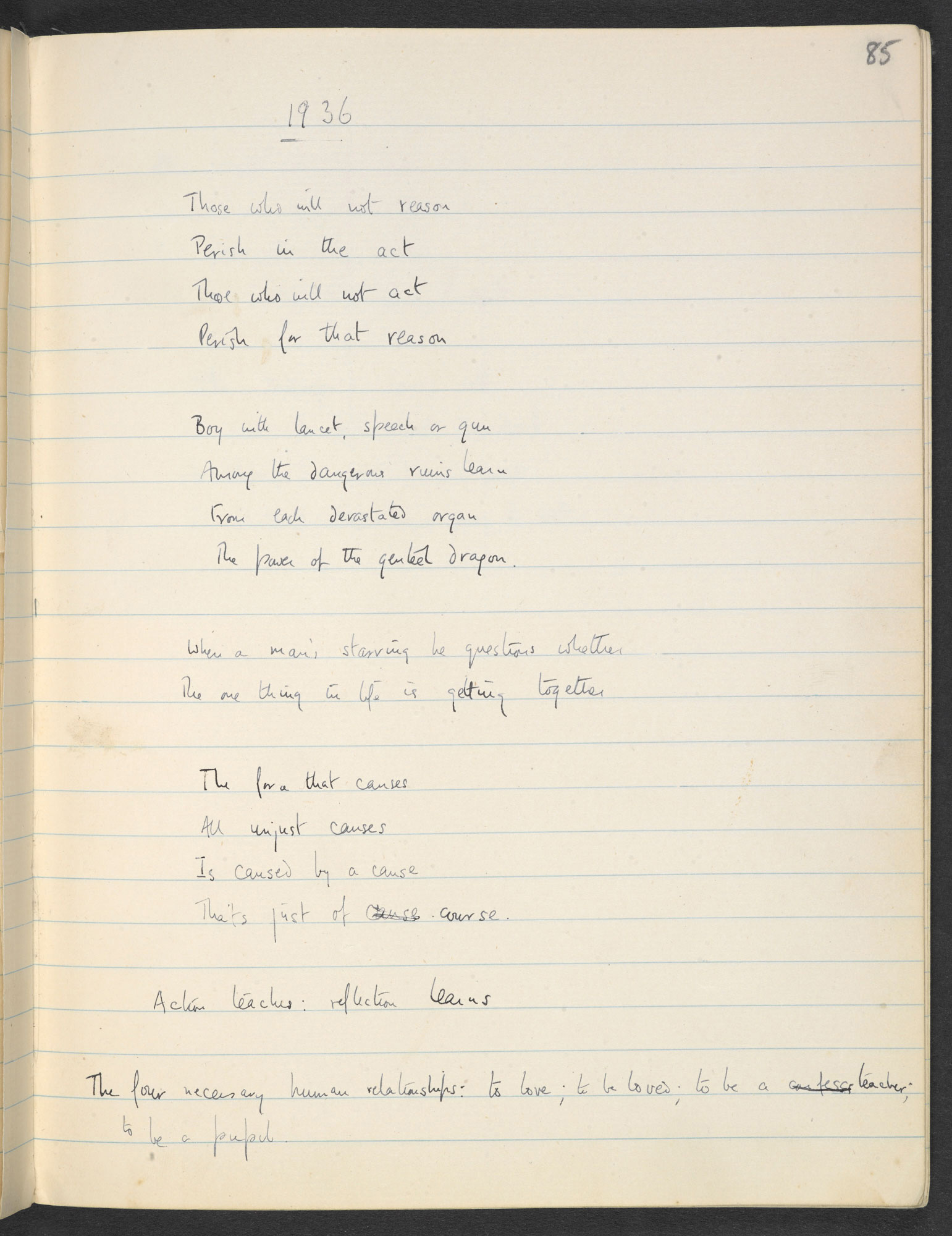W H Auden's notebook, c. 1928-1935
