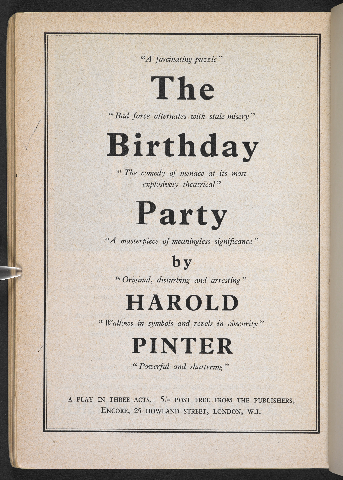 Advertisement for copies of The Birthday Party