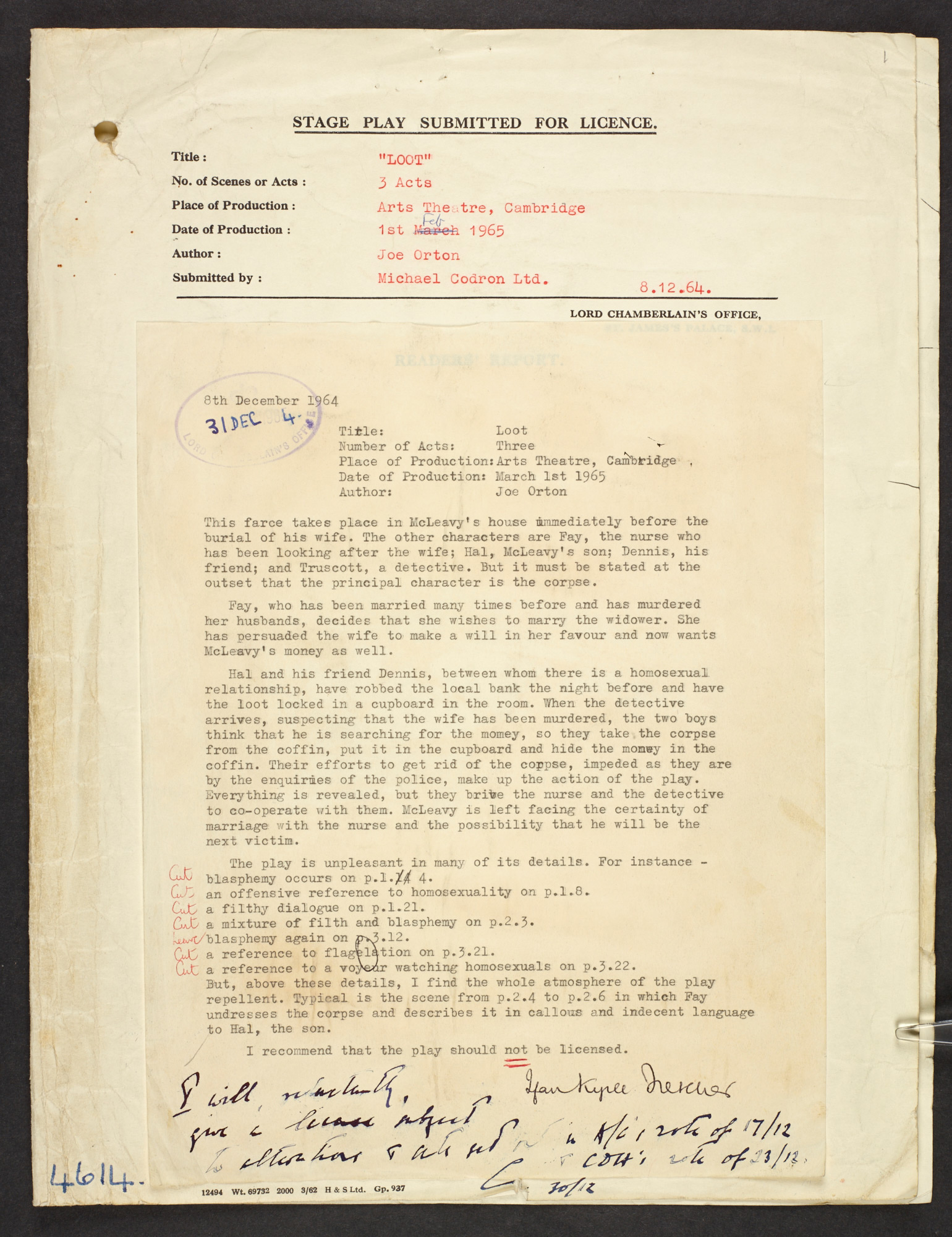 Correspondence relating to the licencing of Loot, 1964–65