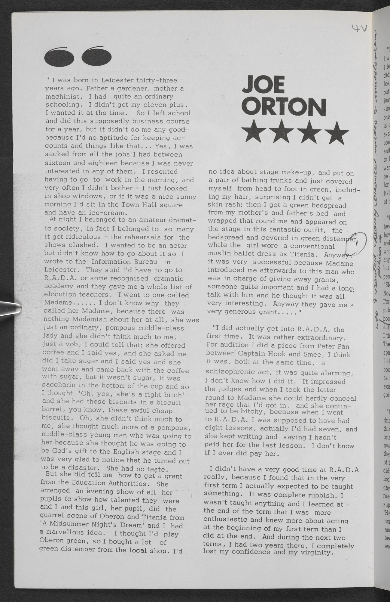 Interview with Joe Orton, for Crimes of Passion