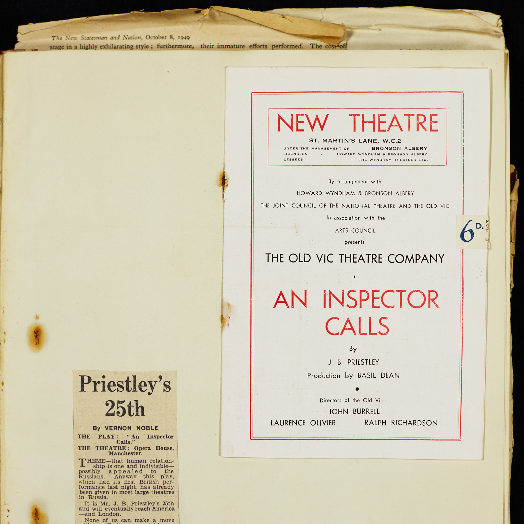 J B Priestley's scrapbook containing programmes and reviews for An Inspector Calls