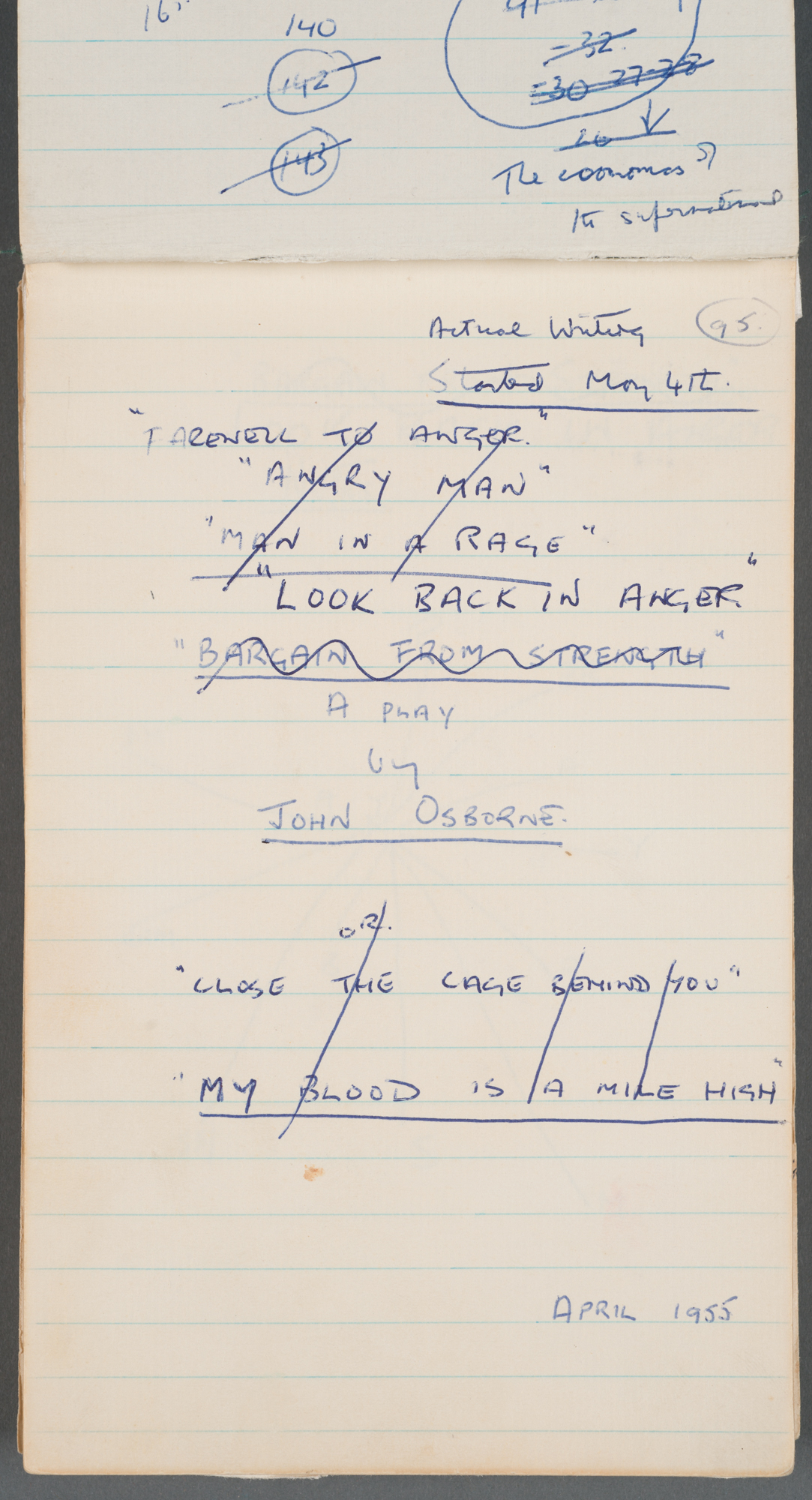 John Osborne's notebook for Look Back in Anger