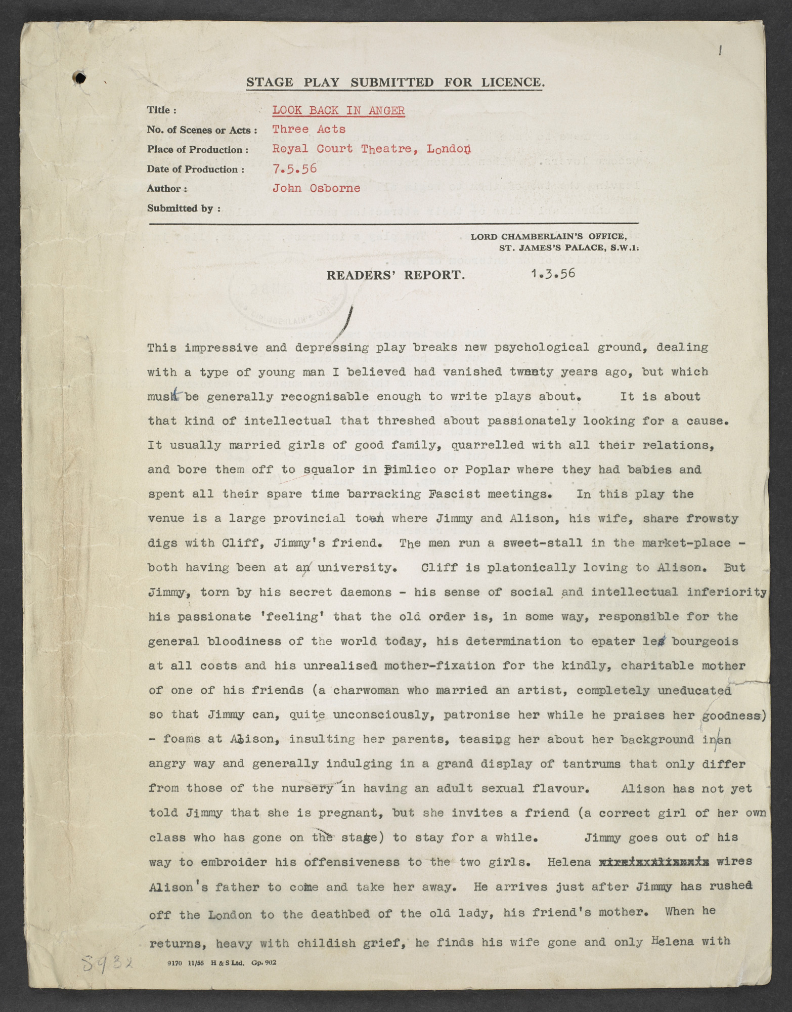 Lord Chamberlain's report and correspondence about Look Back in Anger