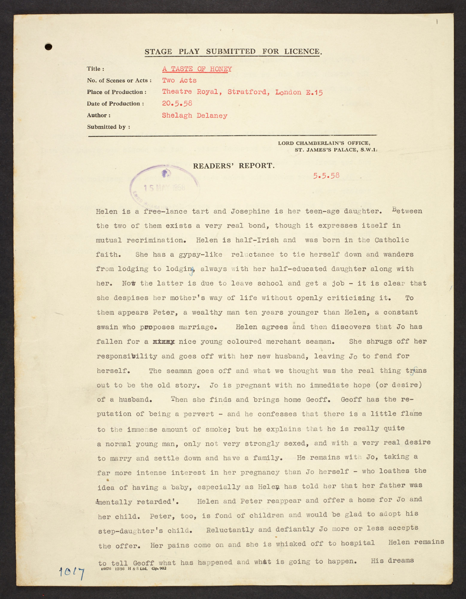 First page from the Lord Chamberlain's typescript report on Shelagh Delaney's A Taste Of Honey, outlining the play and showing the reader's opinions about the play