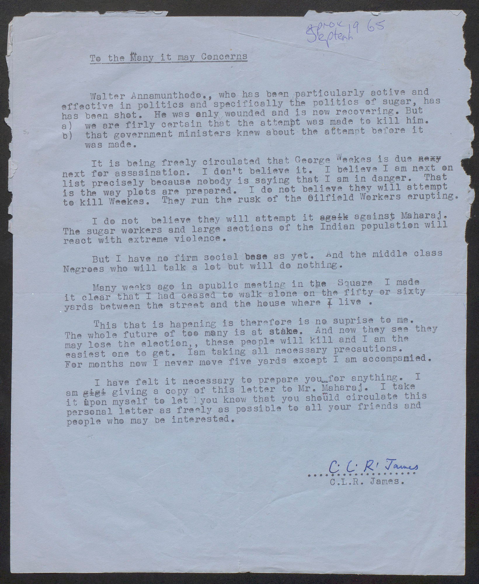 Letter from C L R James to Andrew Salkey, 1965