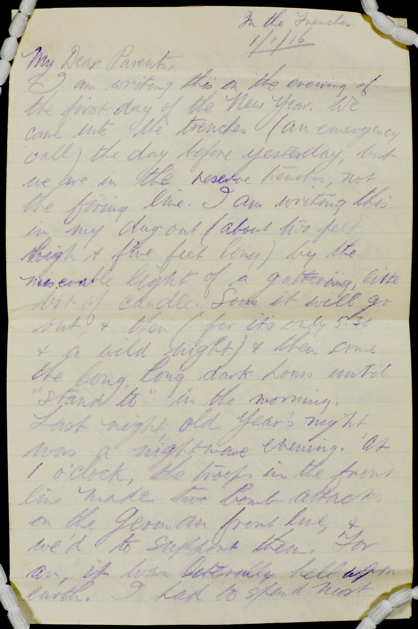 Letter from J B Priestley from the trenches, 1916, with envelope