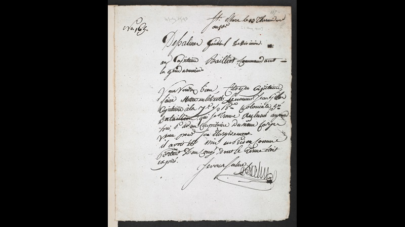 Letter from Jean-Jacques Dessalines, 1793, written in French using an ink pen and cursive handwriting