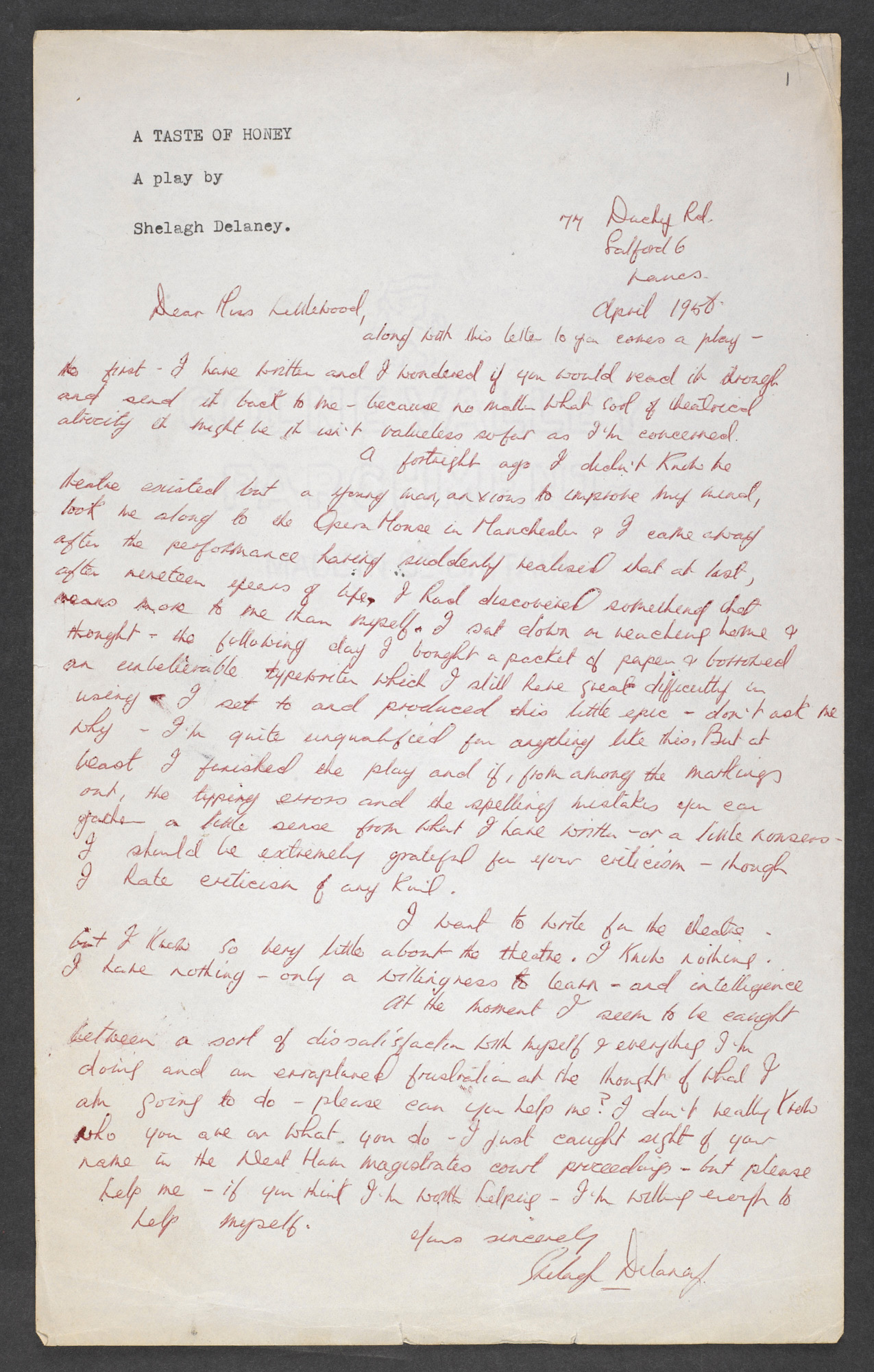 Letter from Shelagh Delaney to Joan Littlewood, 1958