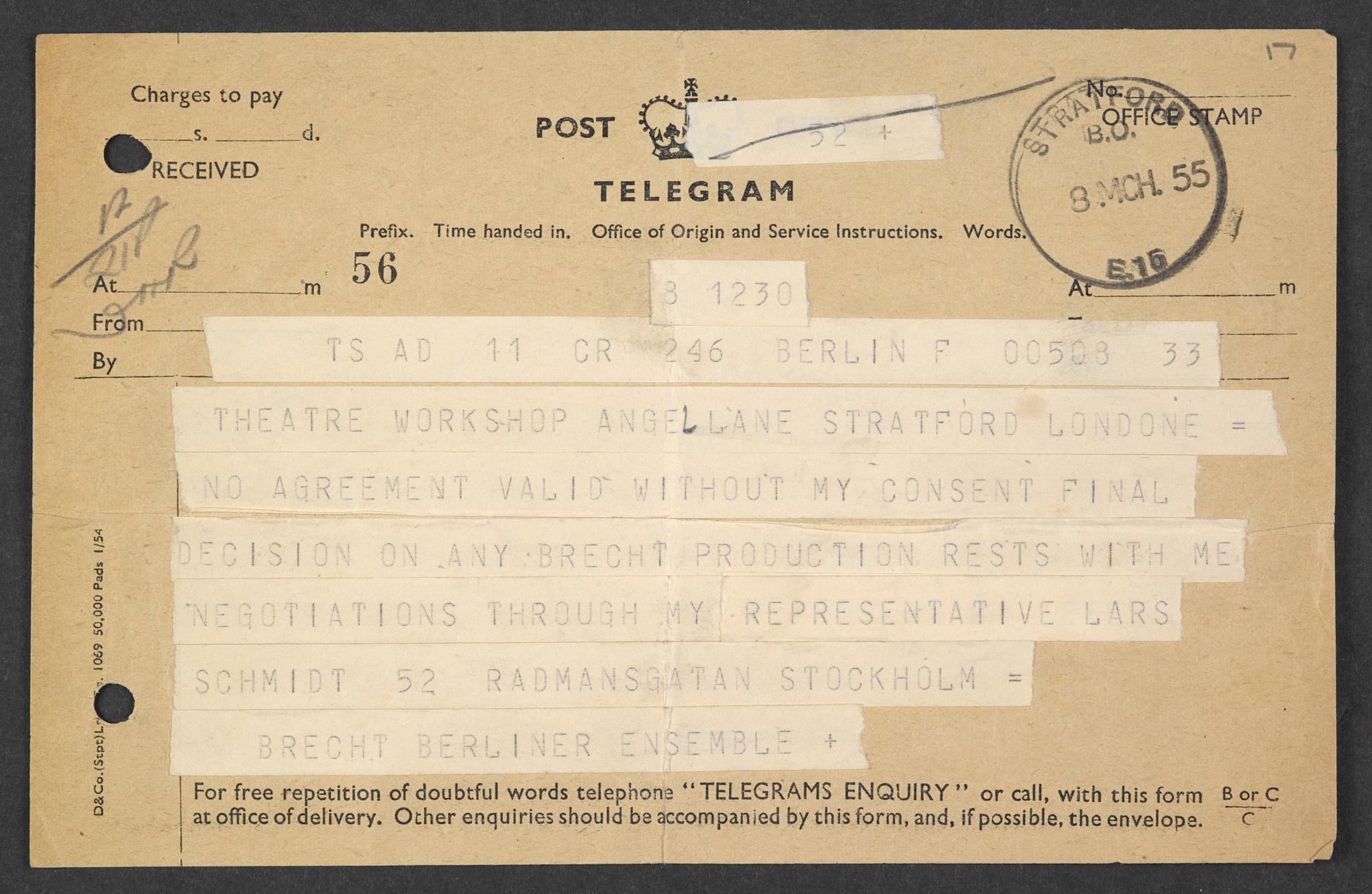Letters Between Bertolt Brecht Theatre Workshop And The Berliner