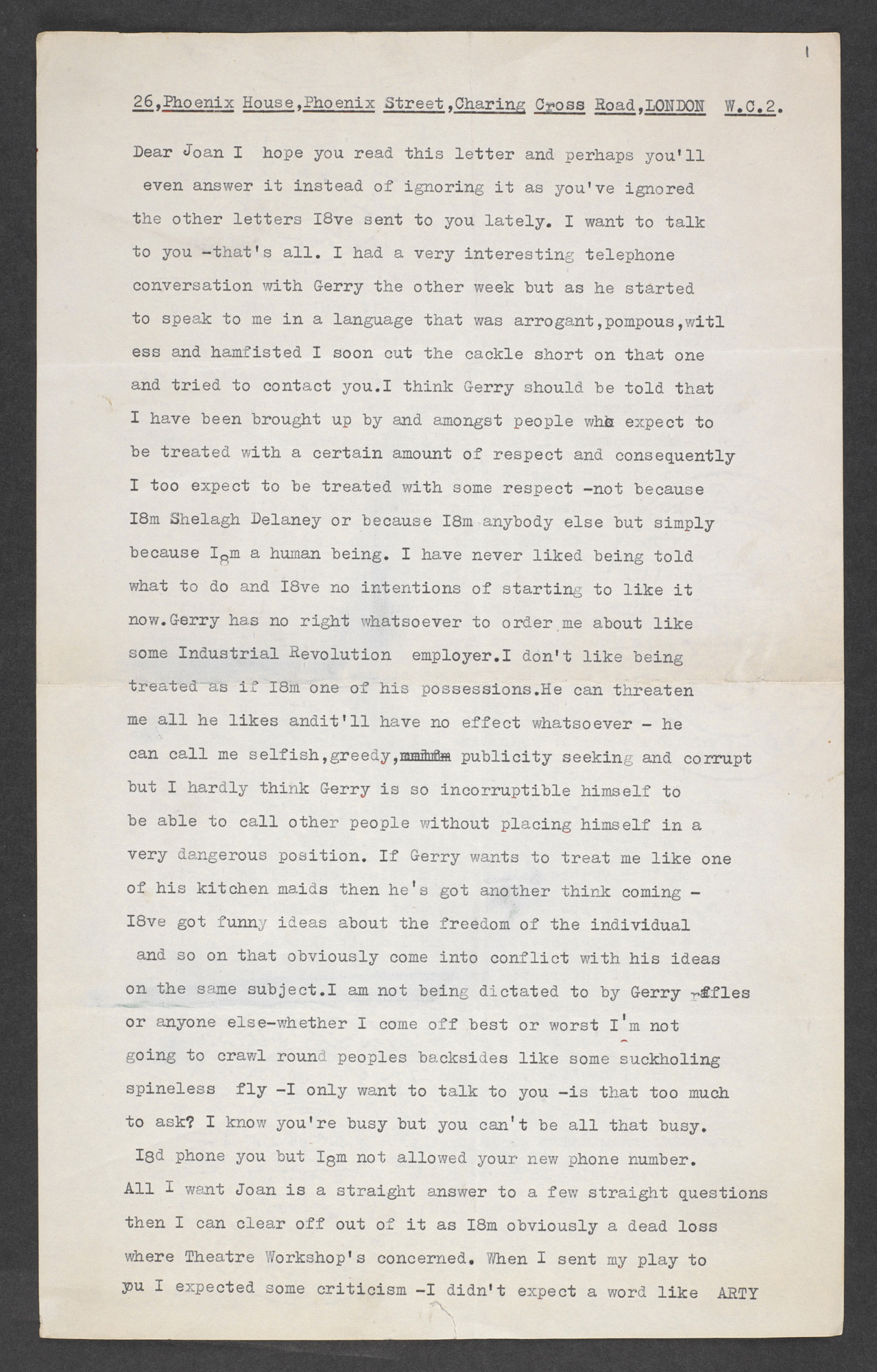 Letters between Shelagh Delaney and Joan Littlewood, 1960