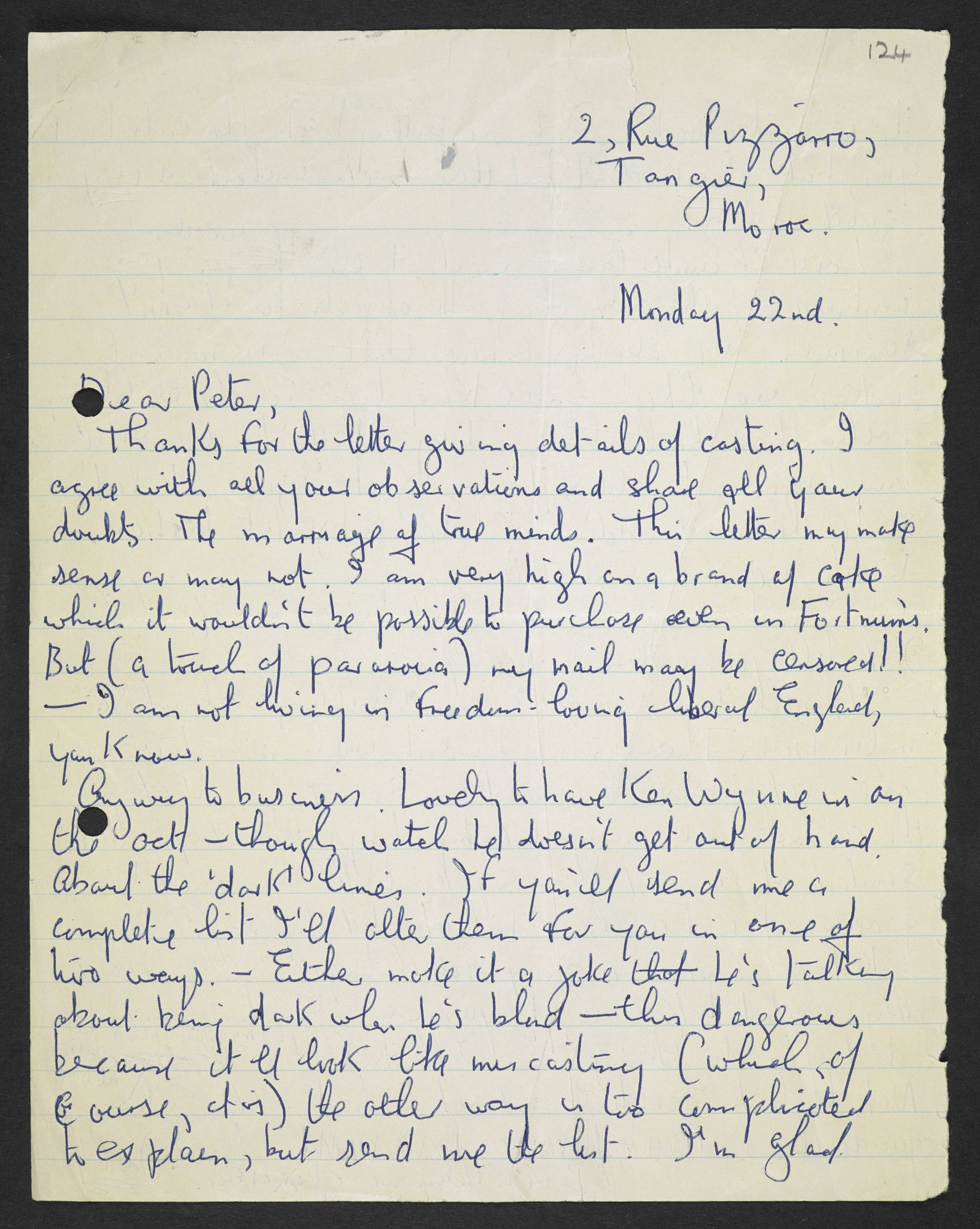 Letters from Joe Orton to the playwright and director Peter Gill