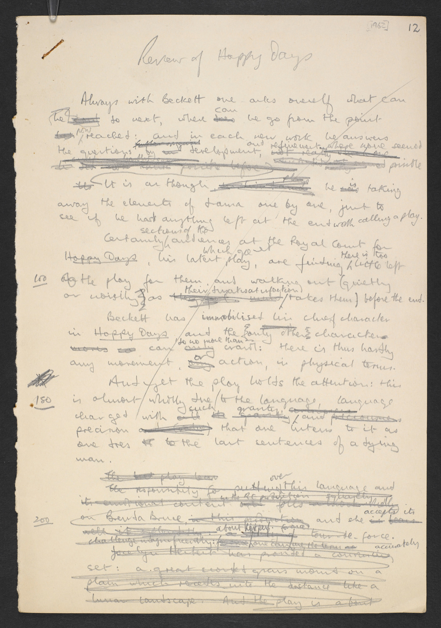 Manuscript draft review of Samuel Beckett's Happy Days, by B S Johnson
