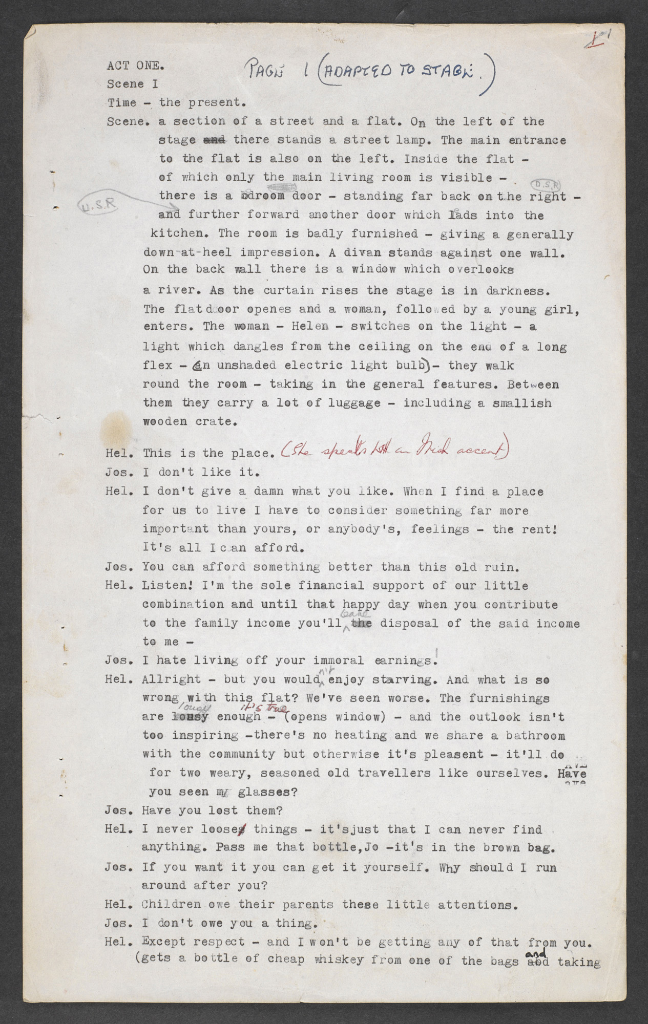 Manuscript of A Taste of Honey by Shelagh Delaney