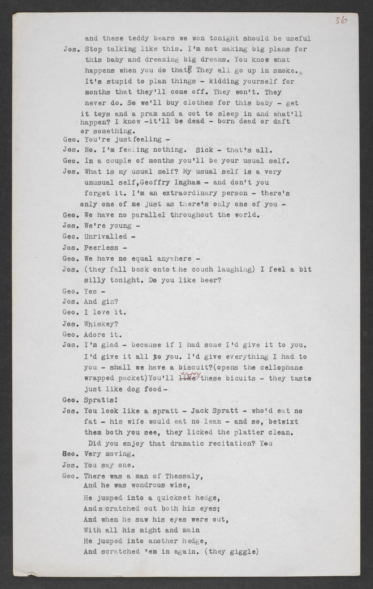 Page 36 from a typescript draft of A Taste of Honey by Shelagh Delaney, showing dialogue between Jo and Geof in Act 1 Scene 2