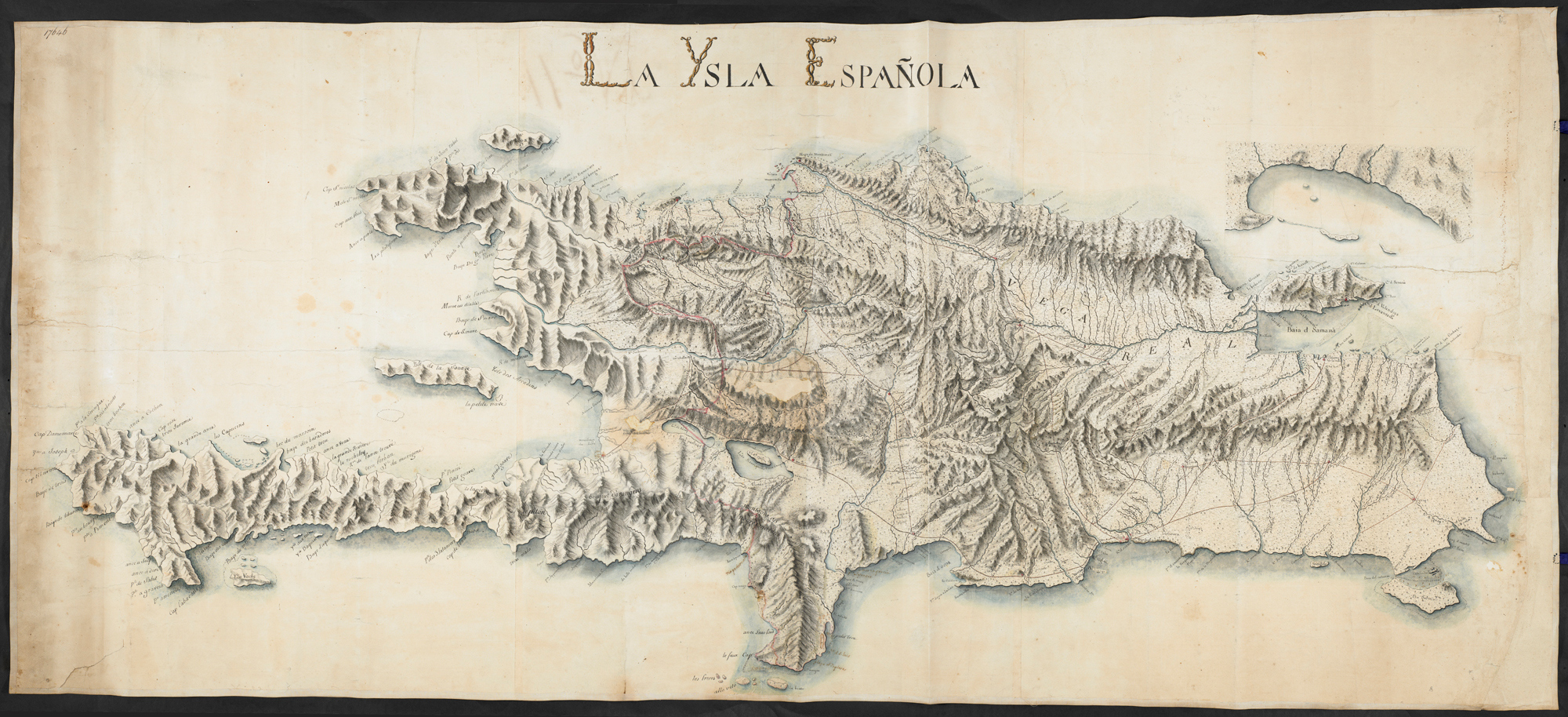Topographic map showing the terrain, coastlines and routes of San Domingo, c. 1750