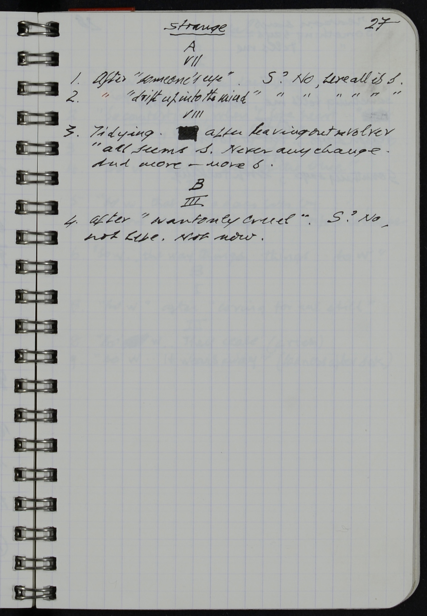 Notebook for Samuel Beckett's own production of Happy Days at the Royal Court