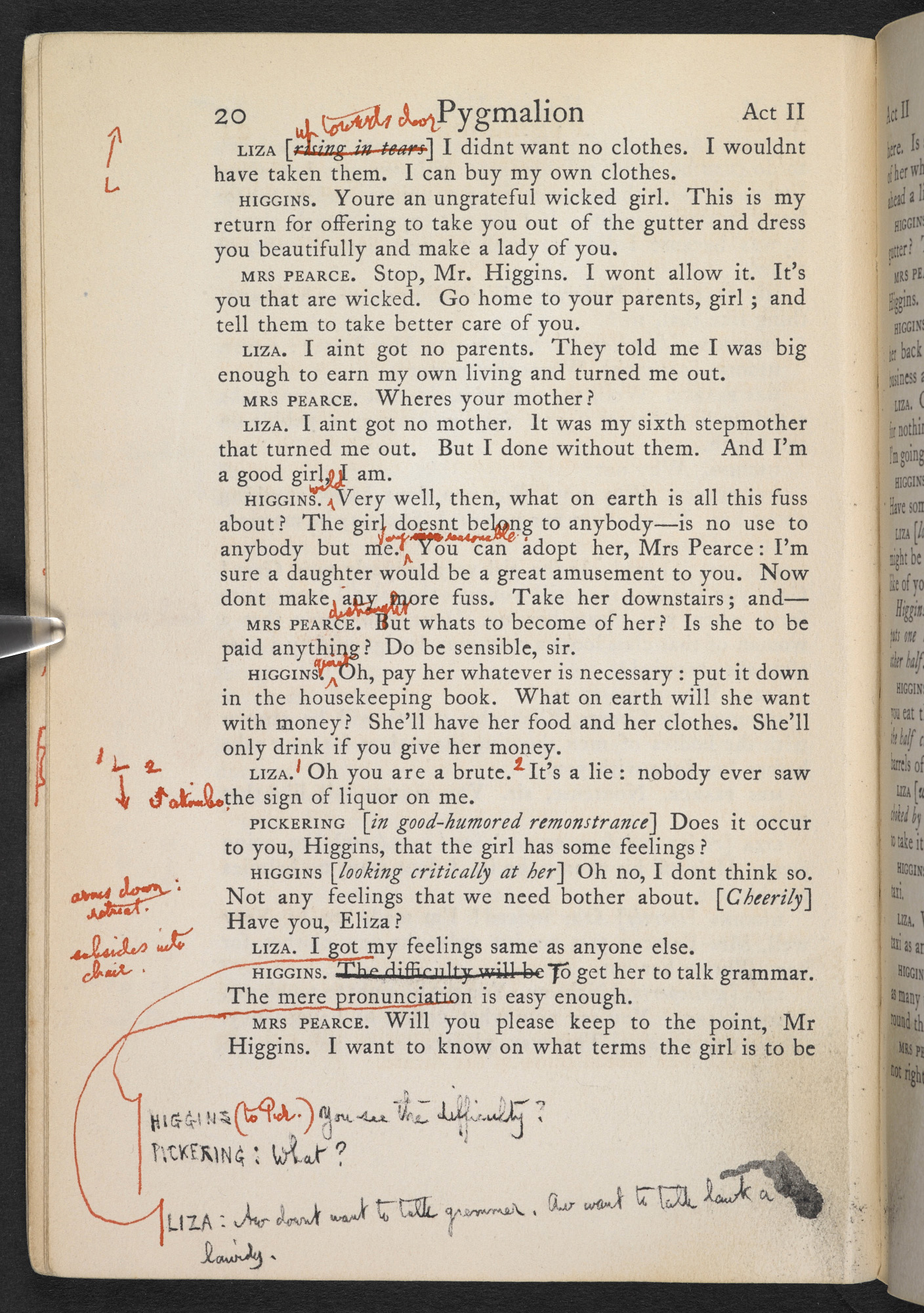Performing copy of Pygmalion, with George Bernard Shaw's rehearsal notes