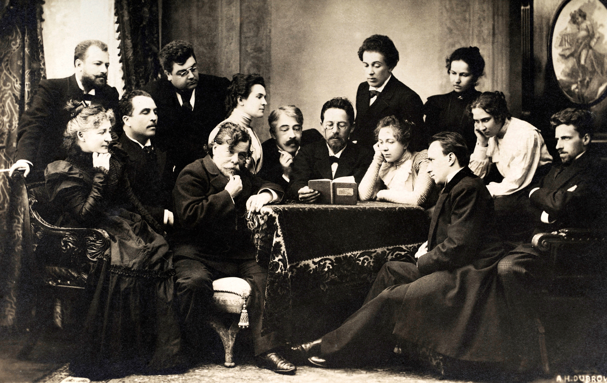 Photograph of Chekov, Stanislavsky and the Moscow Art Theatre group, 1900