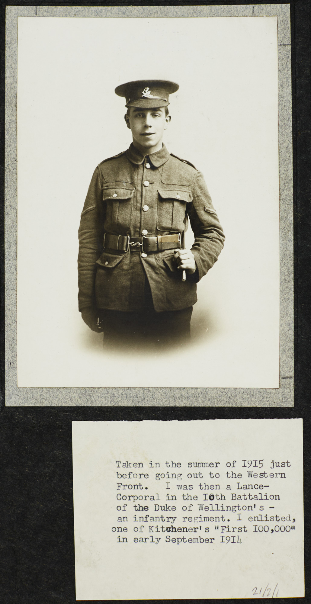 Photograph of J B Priestley as a Lance Corporal, 1915