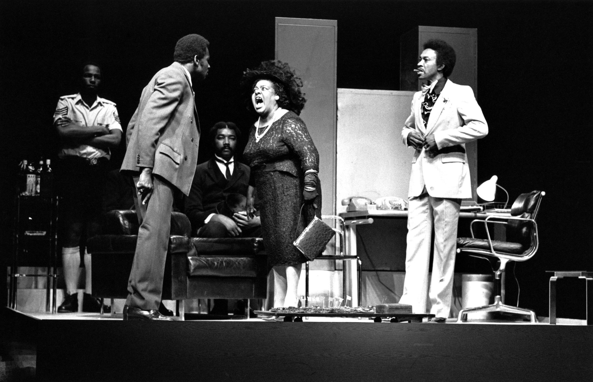 Photograph of a 1974 production of PLAY MAS (Royal Court Theatre, 16/07/1974)