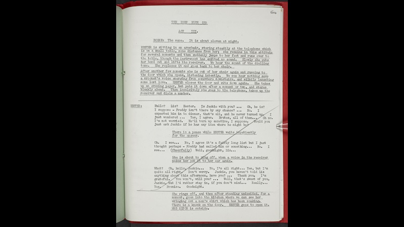 Rehearsal script for The Deep Blue Sea by Terence Rattigan