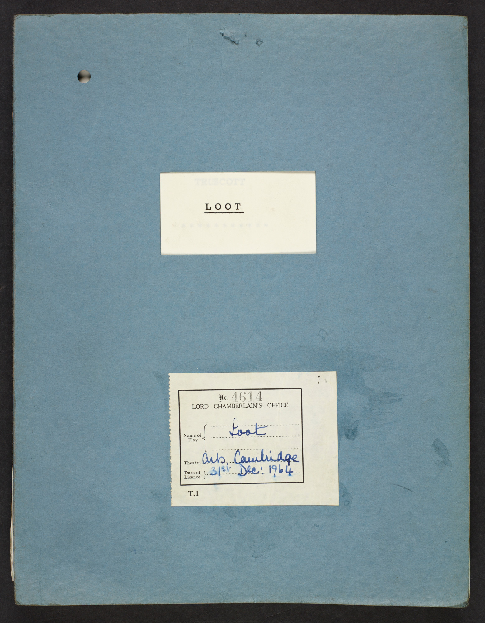 Rehearsal script of Joe Orton's Loot (1965 production)