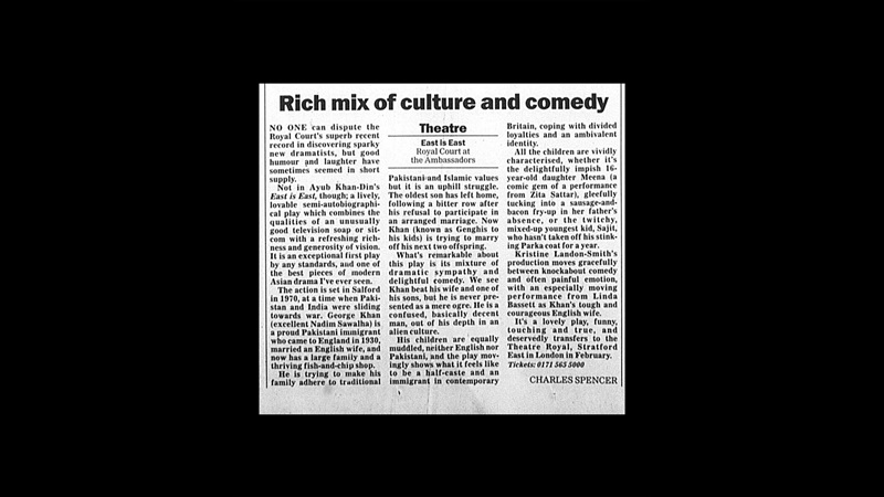 Review of East is East in the Daily Telegraph, 1996